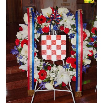 Funeral Tributes 2 croatian wreath including shield and ribbons